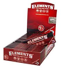 Elements Red Slow Burning Hemp Rolling Papers 1 1/4 Size 50 PK