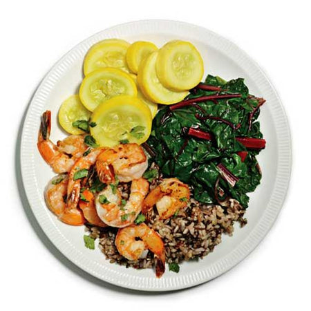 Cilantro Shrimp with Squash and Chard Recipe