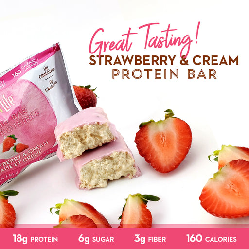Low Sugar Strawberry & Cream Protein Bars 12 Ct