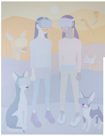 Olga Feshina, Girls with Friends Walking in Park, 2019. Acrylic on canvas, 60 x 48 inches (152.5 x 122 cm). 022-ntg.