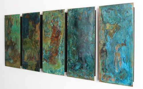 Water by Helena Chastel, Patinated Copper and Resin