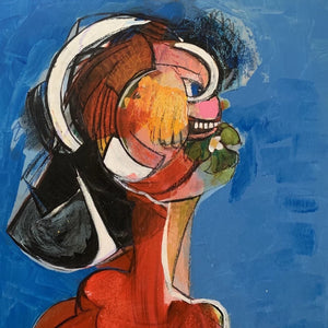 Red Chic(ago) Girl by Manuela Wenger, Acrylic, Collage and Pastel on Board