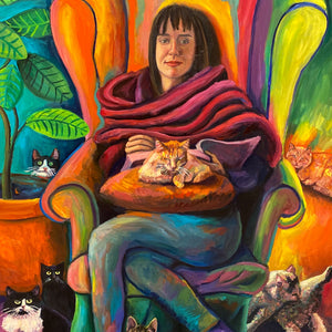 """The Cat lady"" by Angeliki Boletsi, Oil on Canvas"