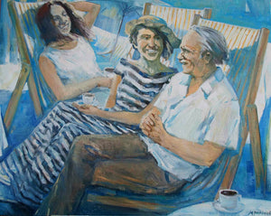 """Cafe on The Shore"" By Margarita Baranova, Oil on Canvas"