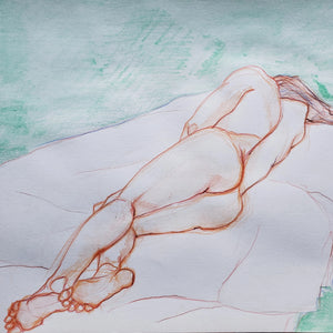 Foreshortening with Green Background by Alejandro Mirelman, Watercolor Pencil on Paper