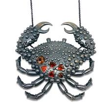 Crab Necklace Ocean by Lisa Lesunja, Blacked Silver, Fire Opals, and Turmaline (7584)