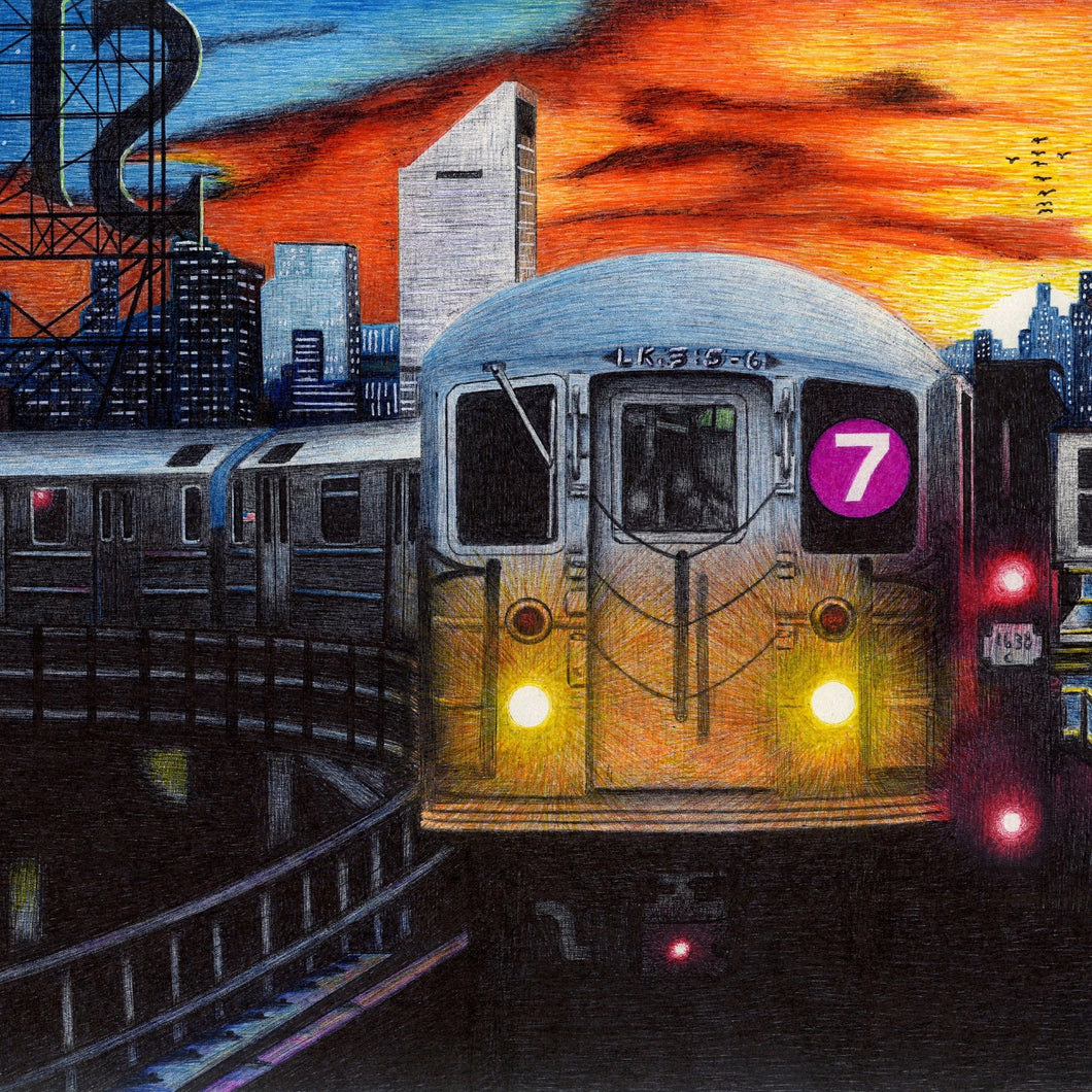 7 Train by John Aaron, Pen and Ink on Paper