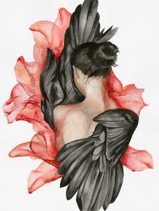 Bleeding and Blooming by Amina Lei, Watercolor on 140lb Paper