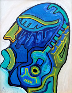 Guitar Face by Julio Sanchez, Mixed Media on Canvas