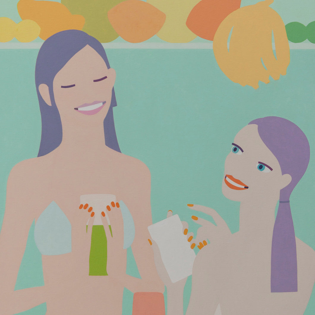 Girls Looking For Smoothie Recipes by Olga Feshina, Acrylic on Canvas