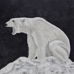 """ADAPTATION – Polar Bear"" by Hannah Jensen, Carved Acrylic on Board"