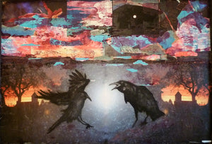 Raven by Mark Charles Rooney, Mixed Media on Wood