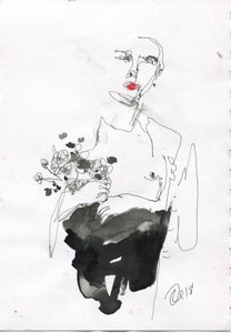 Boy with Flowers by Rebecca Russo, Drawing on Paper