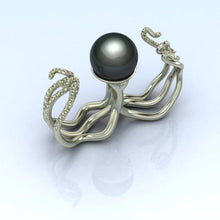 Octopus Double Ring by Lisa Lesunja, White Gold 750 18K with 1 Tahiti Pearl (7571)