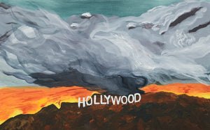 Hollywood Sign Wildfire by Susan Lizotte, Oil on Canvas
