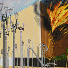 LACMA Fire by Susan Lizotte, Oil on Canvas