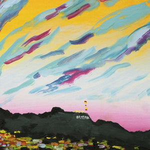 Hollywood Hills Orange Sunset by Susan Lizotte, Oil on Canvas