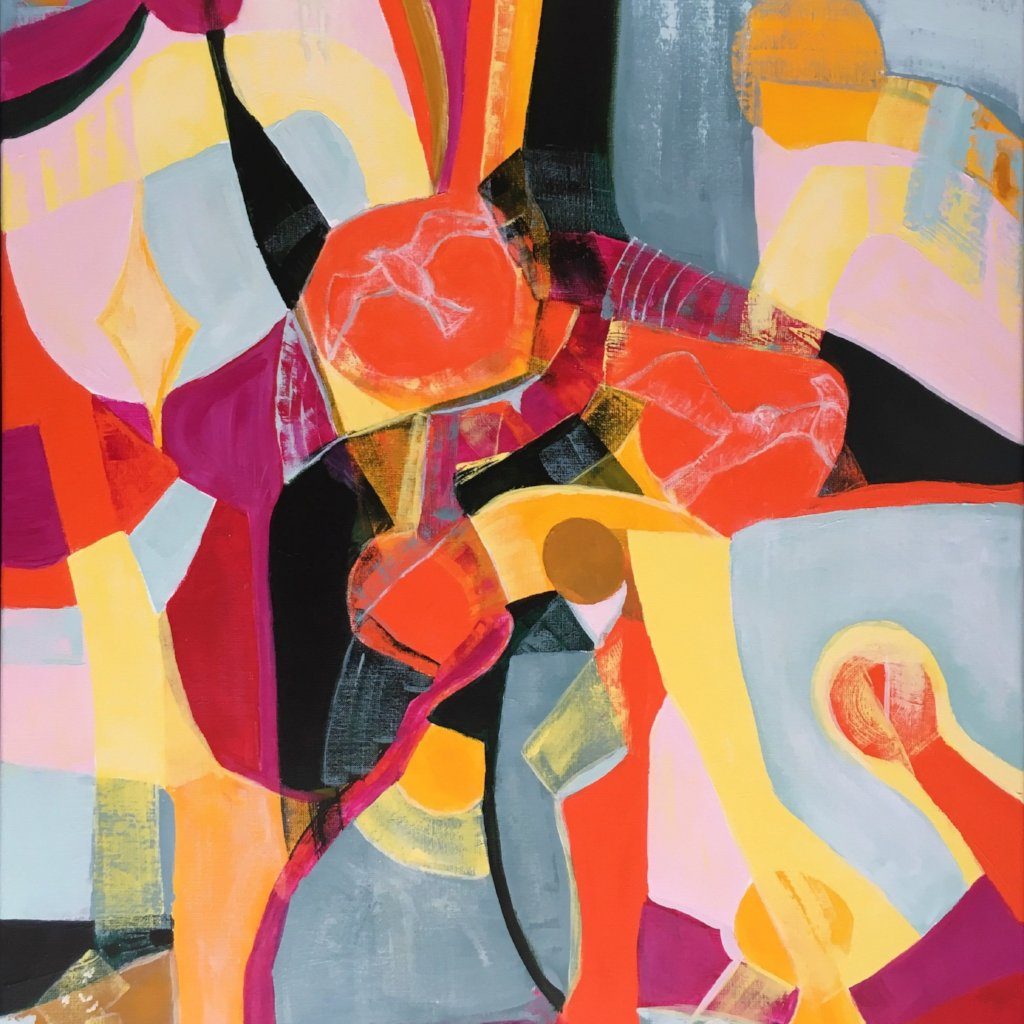 Birds in Orange by Jette Bruun, Acrylic on Canvas