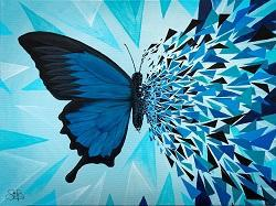 Sapphire - Butterfly Effect Series By Sabrina Beretta, Acrylic On Canvas