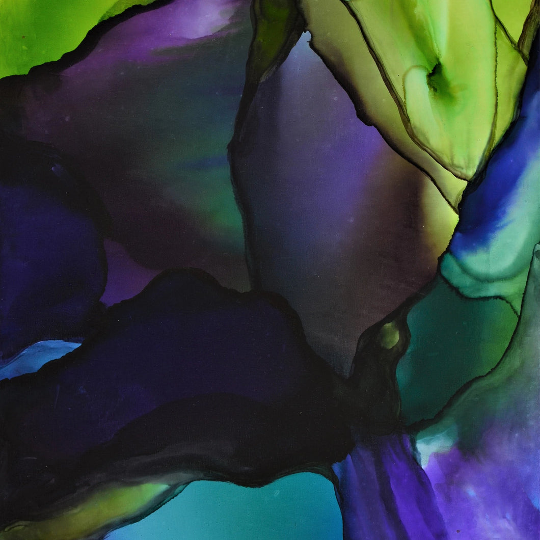 Stained Over by Elyse Elguezabal, Alcohol Ink on Canvas