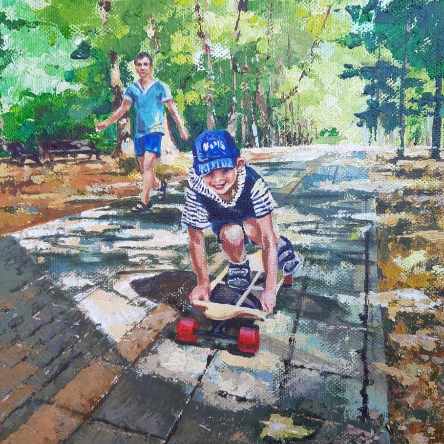 Dad is Nearby by Tatyana Strokova, Acrylic on Canvas