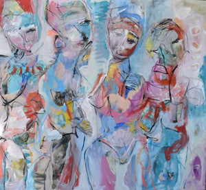 """Modern Family"" By Giselle Fenig, Mixed Media on Canvas"