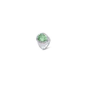Waves Ring by Lisa Lesunja, Platinum 950 with 1 Light Green Drop Cut Emerald and 28 White Brilliants 0.59ct. (7483)