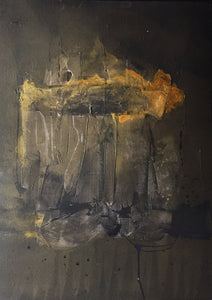 """Gold #4"" By Elijah Gromov, Acrylic and Putty on Cardboard"