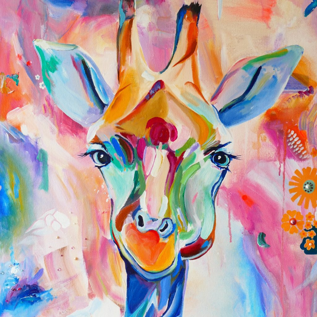 Naughty Giraffe By Alanna Eakin, Mixed Media On Canvas