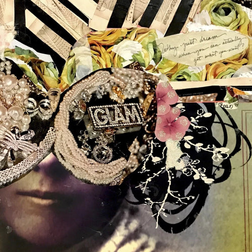 Glam by Ashley Rae, Vintage Photo, Paint, Glitter, Mixed Media