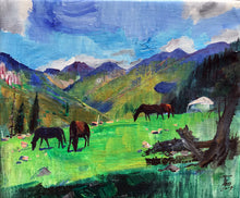 Horses at the Foot of Tianshan by Wang Lei, Acrylic on Canvas