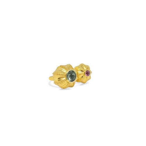 Urchins Double Ring by Lisa Lesunja, Silver 925, Gold Plated with 1 Pink and 1 Green Tourmaline 4.6ct. (7553)
