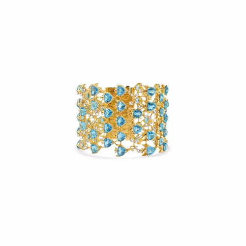 Fish Bracelet by Lisa Lesunja, Yellow Gold 750 18K with 60 Blue Trillion Cut Topaz 71.19ct. and 72 Brilliants 2.4ct. (7573)