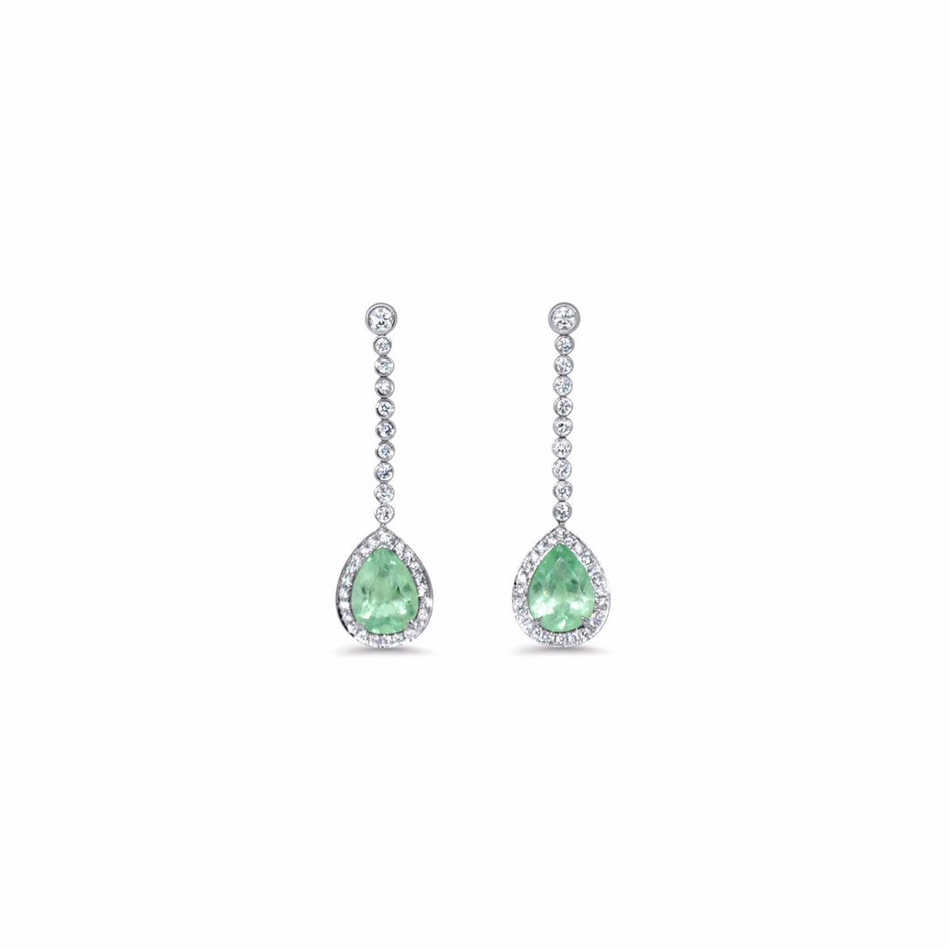 Waves Earrings by Lisa Lesunja, Platinum 950 Polish with 2 Light Green Drop Cut Emerald and 70 White Brilliants 2.62ct. (7482)