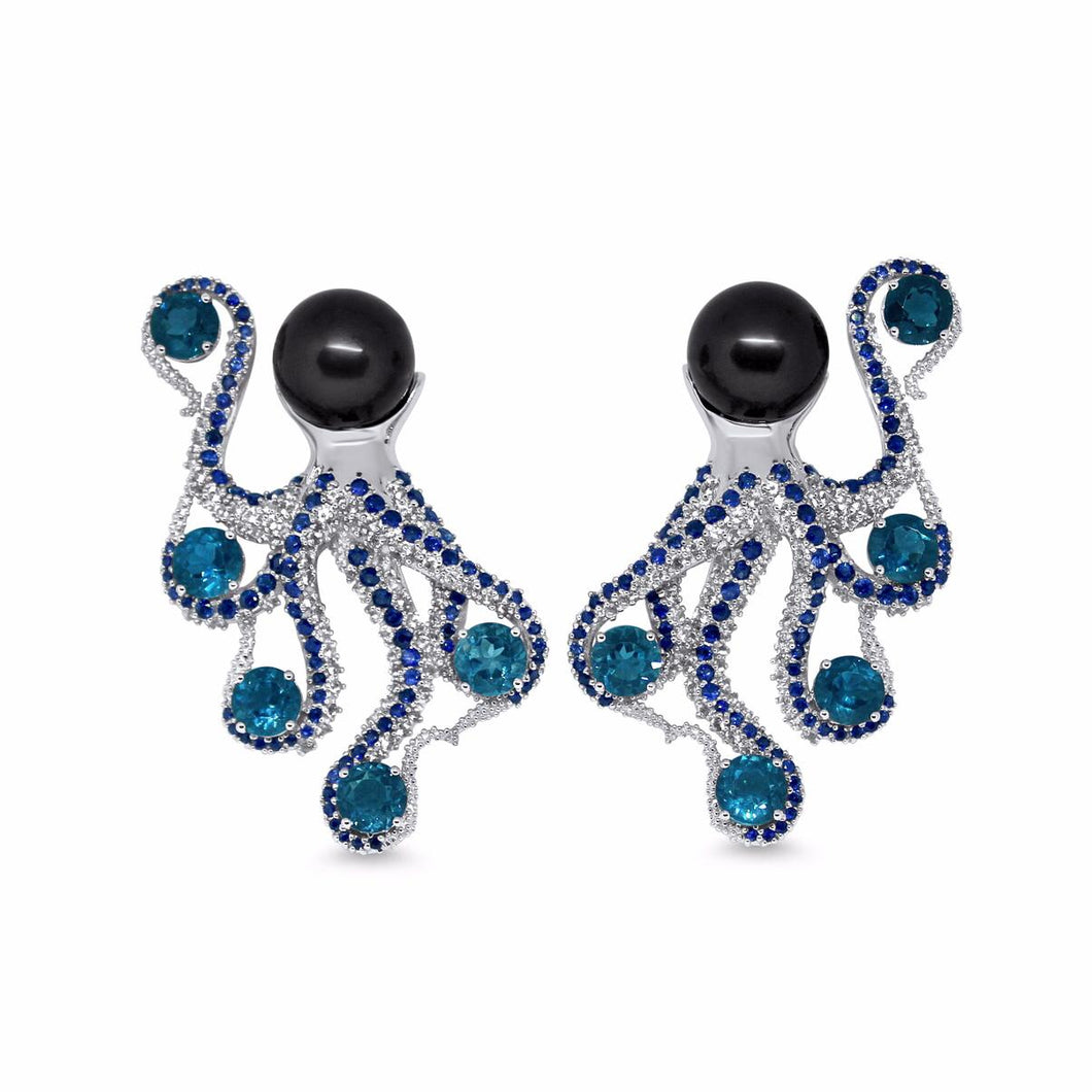 Octopus Earrings by Lisa Lesunja, White Gold 750 18K Polish with 2 Tahiti Pearls, 10 Brilliant Cut Swiss Blue Topaz 14.8ct. and 352 Brilliant Cut Paved Topaz and Sapphires 2.81ct. (7570)