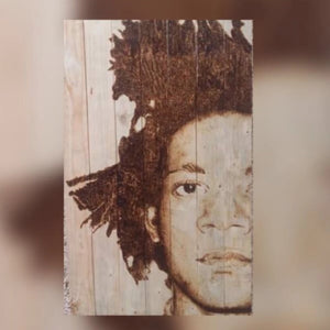 JM Basquiat by Kaxx, Burning on Wood