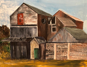 Abandoned Warehouses by Judy Collins, Acrylic on Canvas