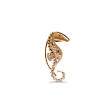 Seahorses Ear Jewelry with Hanger and Pin by Lisa Lesunja, Rosé Gold 750 18K with 1 White Brilliant 0.06ct. and 30 Rose cut Diamonds (7567)