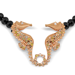 Seahorse Necklace Ocean by Lisa Lesunja, Rose Gold, Black Diamonds, and Rose Cut Diamonds (7565)