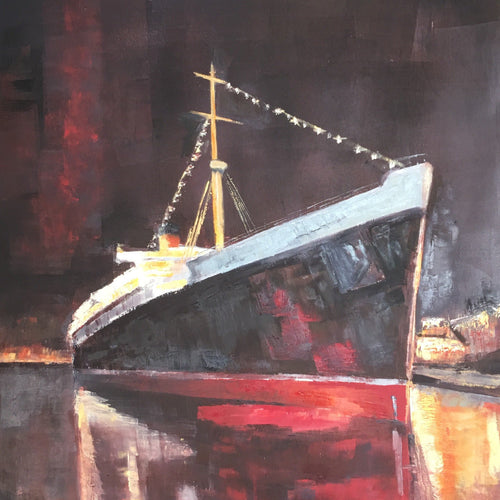 The Historic Queen Mary by Zacaffeine, Oil on Wood Panel
