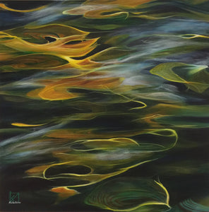 """Golden Reflections"" by Kristine Andrea Morrow, Acrylic on Canvas"
