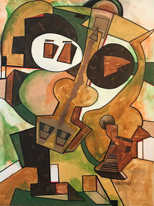 Musicians 3 with Dog/ Paint Collage by Edward Berkise, Oil on Canvas