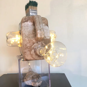 Moai by Daniele Pollitz, Assemblage of Found Objects with LED Lights