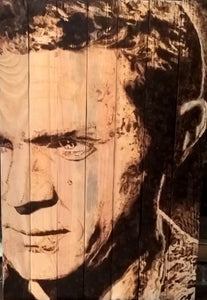 Steve McQueen, Face to Face by Kaxx, Burning on Wood