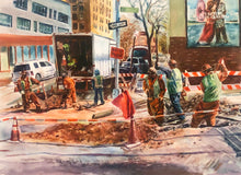 Construction Day by Asilbek Akmalov, Watercolor on Paper