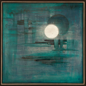 Twin Moons V by Lisa Izquierdo, Mixed Media on Canvas