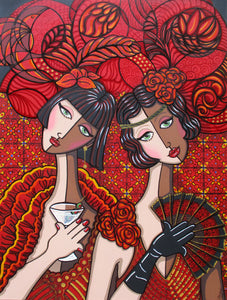 Flamenco Flappers by Jacqui Miller, Acrylic on Canvas