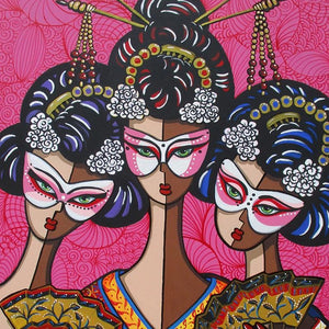 Geisha Masquerade by Jacqui Miller, Acrylic on Canvas