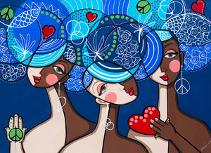 The Three Graces in Blue by Jacqui Miller, Acrylic on Canvas