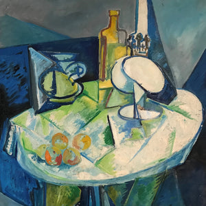 Lamp Still Life by Labor Robert, Oil on Canvas